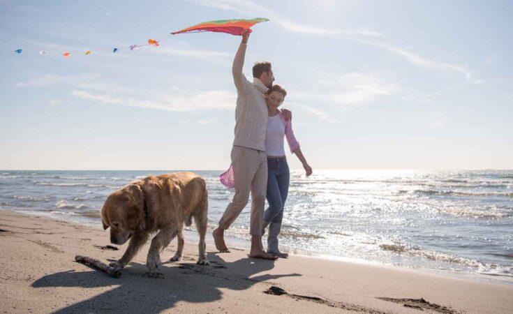 uitwaaien aan zee met hond